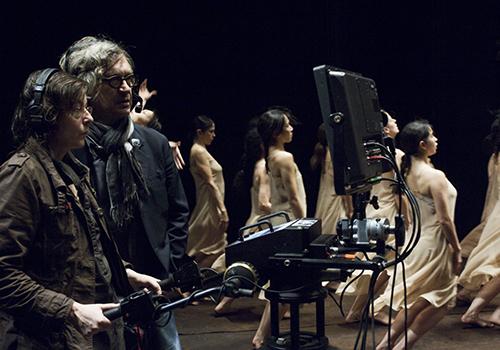 Am Dreh von PINA mit Wim Wenders © Donata Wenders